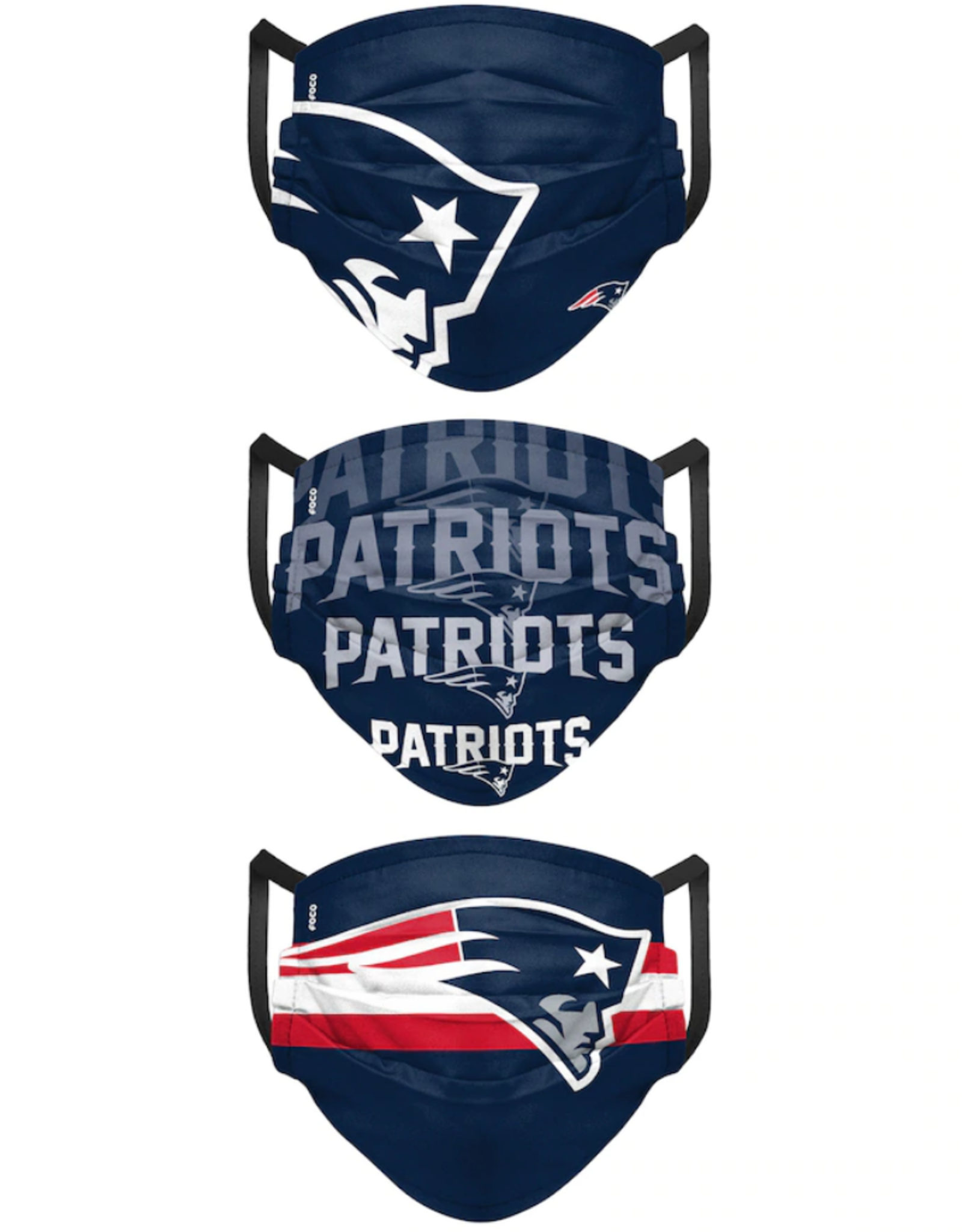 FOCO FOCO Adult Matchday Pleated Face Cover 3 Pack New England Patriots