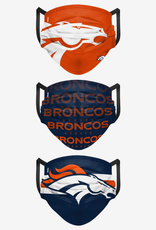 FOCO FOCO Adult Matchday Pleated Face Cover 3 Pack Denver Broncos