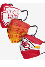 FOCO FOCO Adult Matchday Pleated Face Cover 3 Pack Kansas City Chiefs