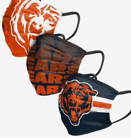 FOCO FOCO Adult Matchday Pleated Face Cover 3 Pack Chicago Bears