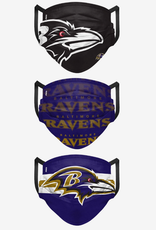 FOCO FOCO Adult Matchday Pleated Face Cover 3 Pack Baltimore Ravens