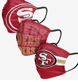 FOCO FOCO Adult Matchday Pleated Face Cover 3 Pack San Francisco 49ers