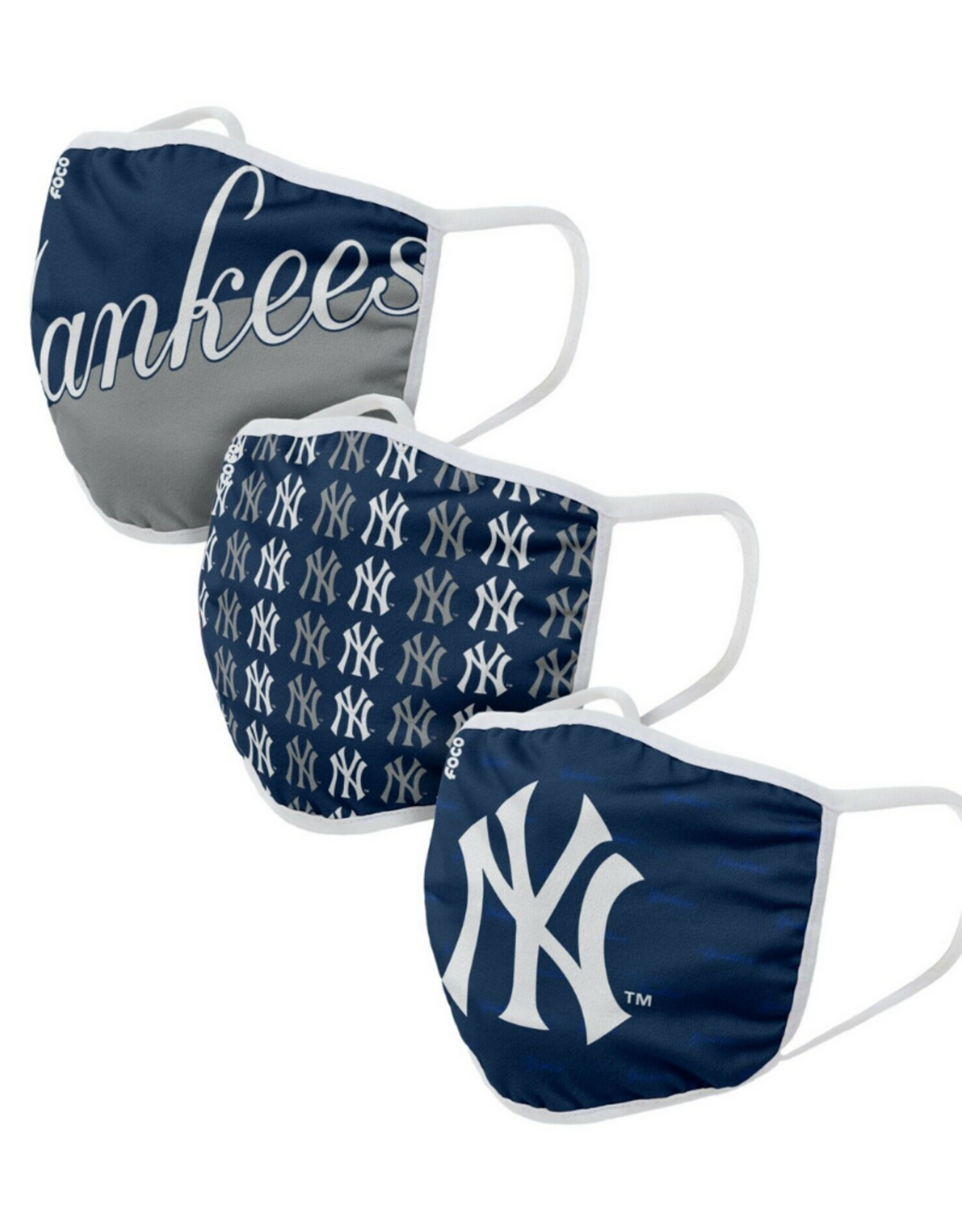 FOCO FOCO Adult Gametime Face Cover 3 Pack New York Yankees