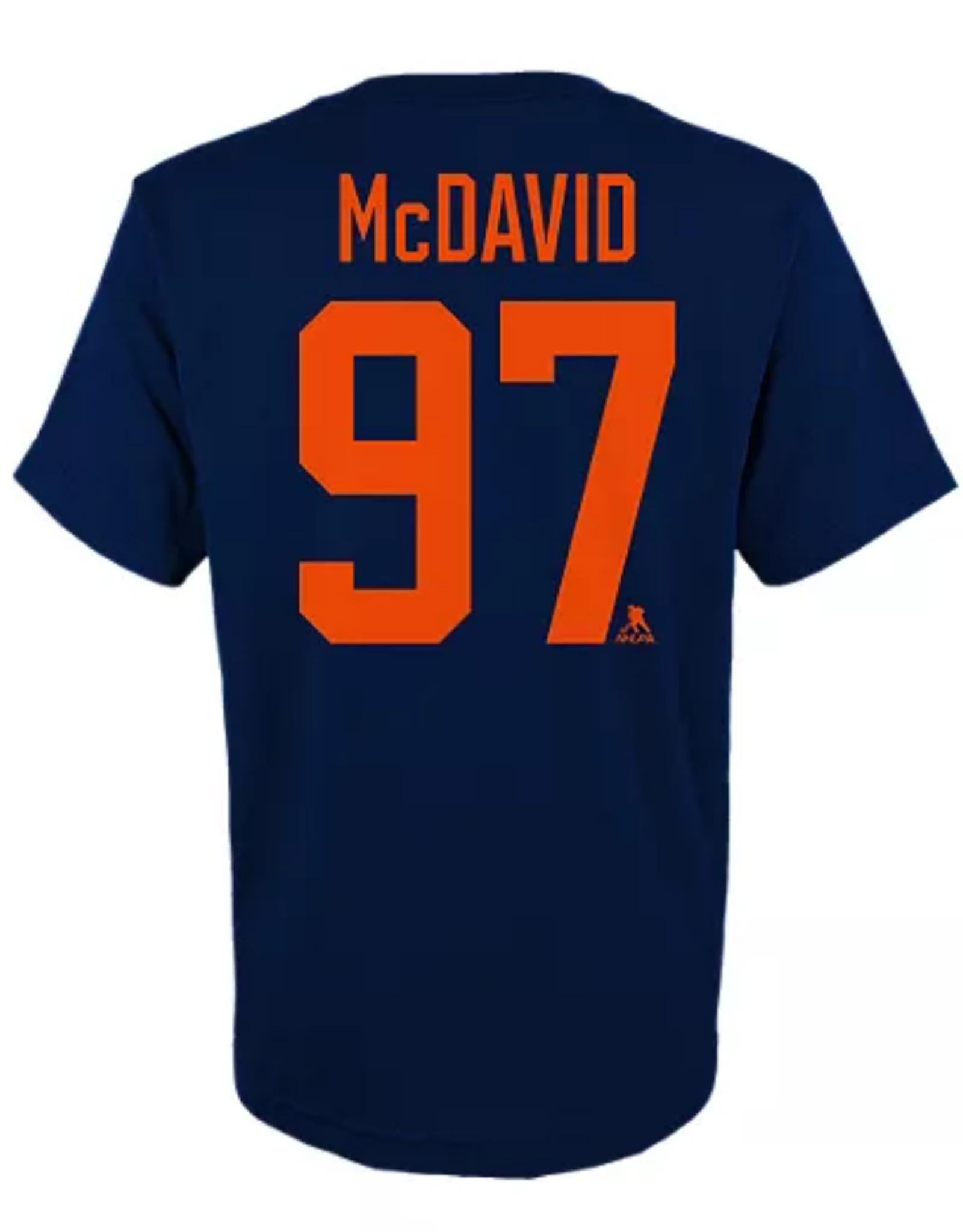 Fanatics Fanatics Women's V-Neck Stack T-Shirt McDavid #97 Edmonton Oilers Navy