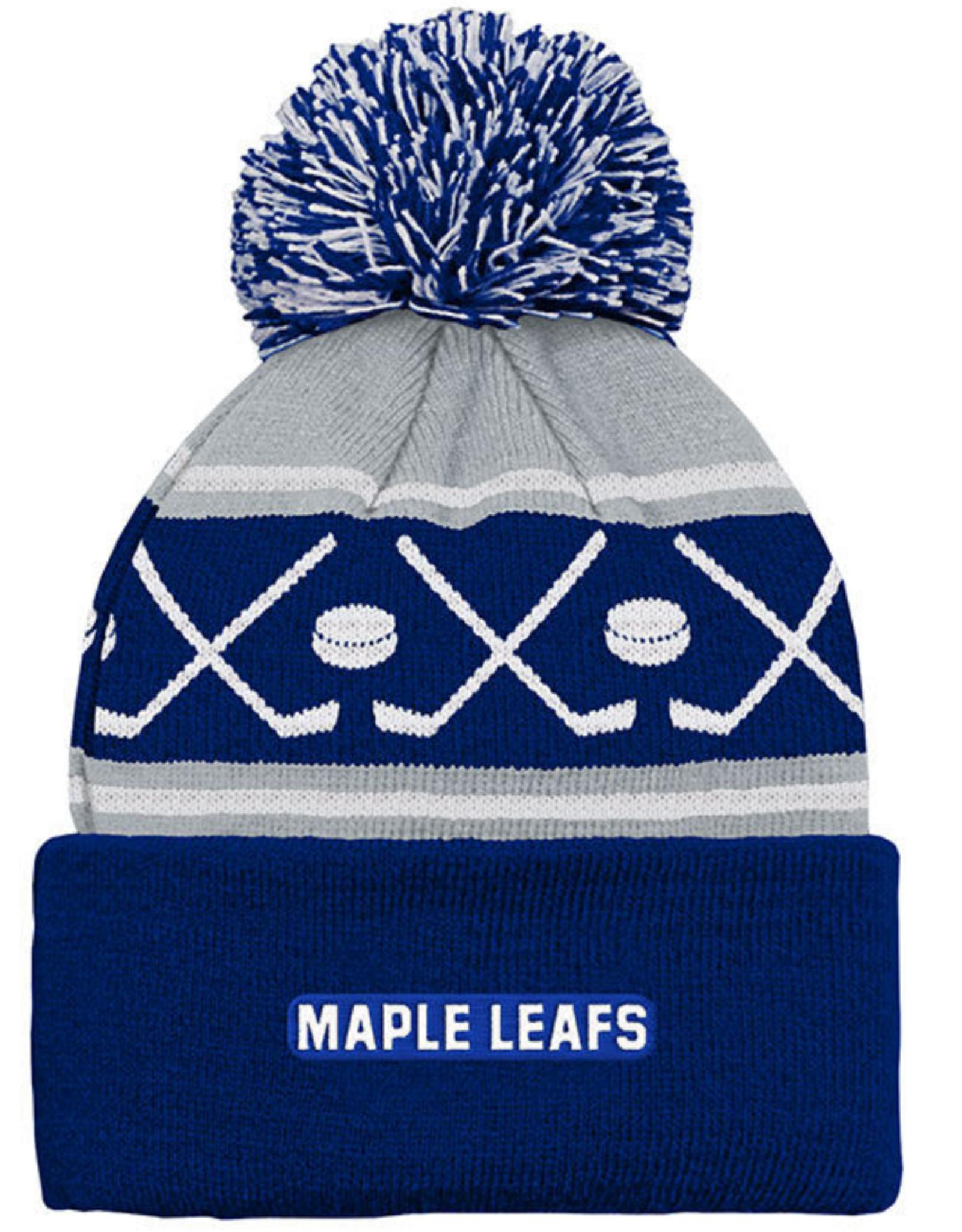NHL Kids Faceoff Cuff Pom Knit Toronto Maple Leafs