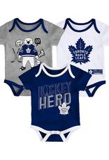 NHL Infant Triple Clapper Diaper Shirt 3 Piece Toronto Maple Leafs