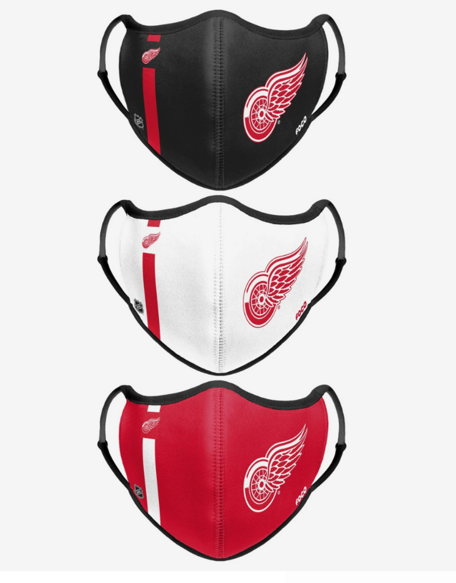 FOCO FOCO Adjustable Sport 3 Pack Face Cover Detroit Red Wings