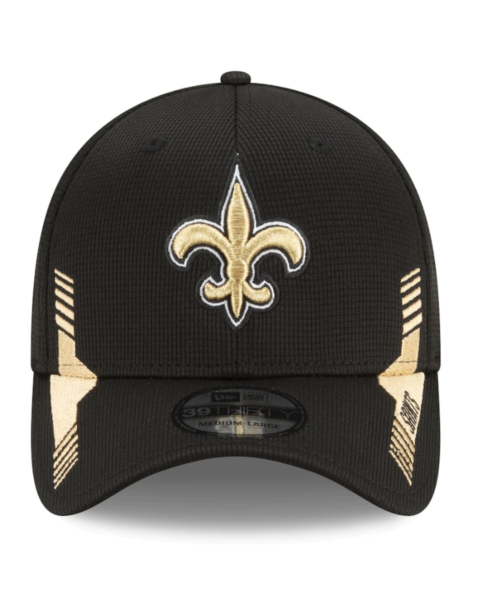 New Era Men's '21 39THIRTY Sideline Home Hat New Orleans Saints Black