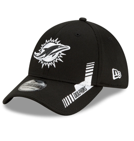 New Era Men's '21 39THIRTY Sideline Home Hat Miami Dolphins Black/White