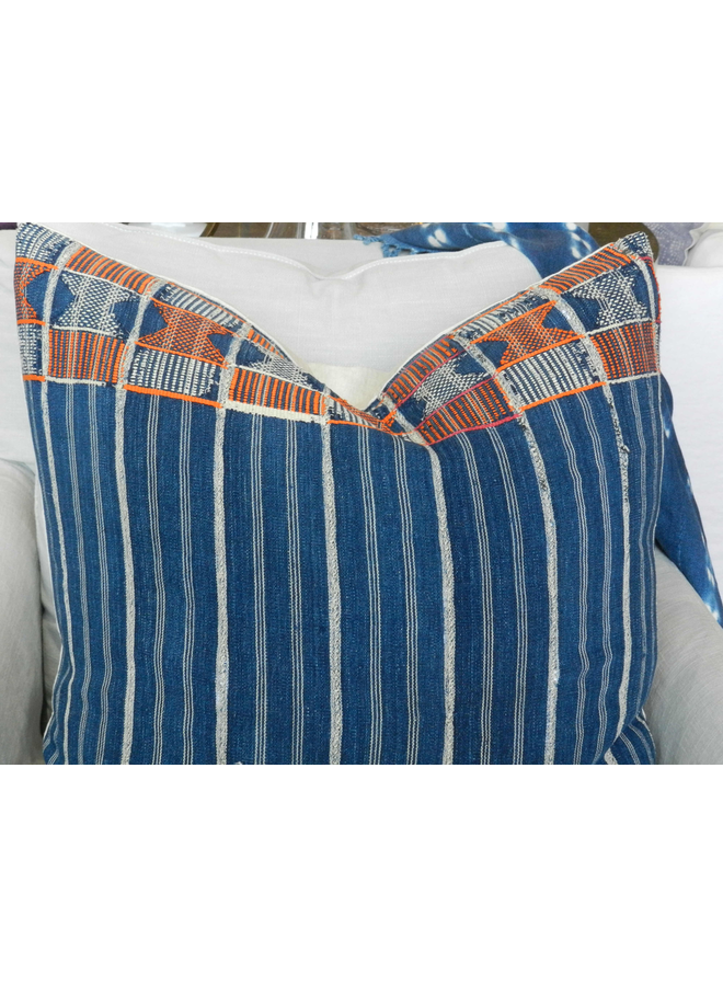VINTAGE BLUE AFRICAN FABRIC PILLOW
