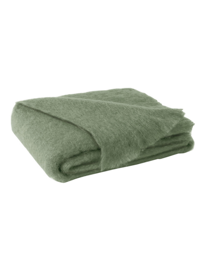 OLIVE BRUSHED MOHAIR THROW 51X72