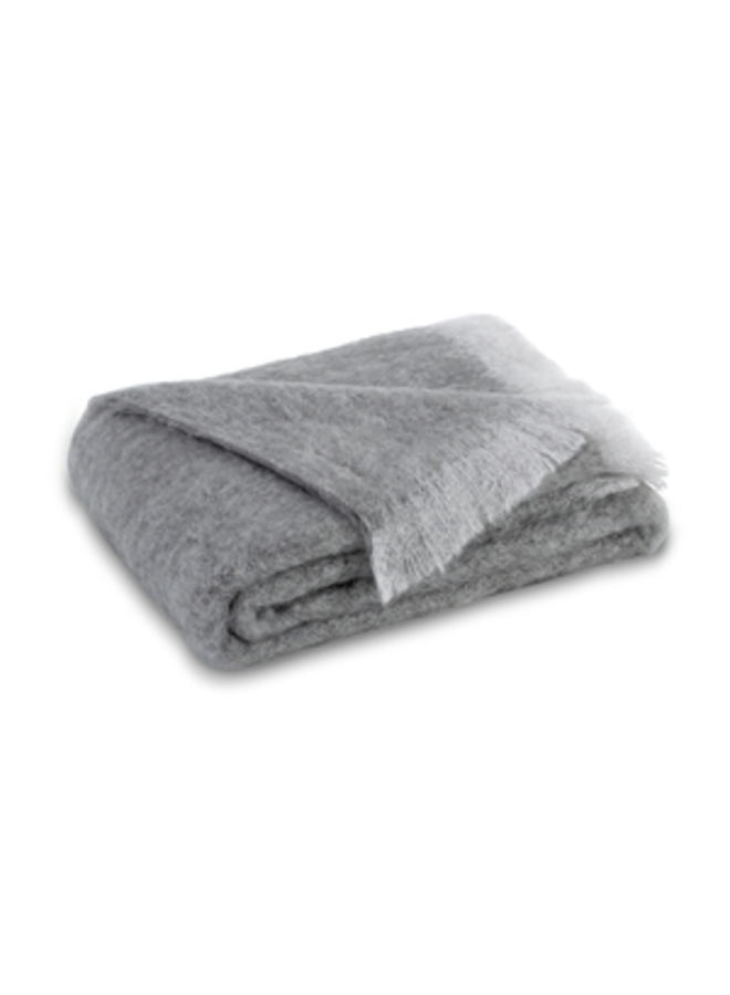 PEWTER BRUSHED MOHAIR THROW 51X72