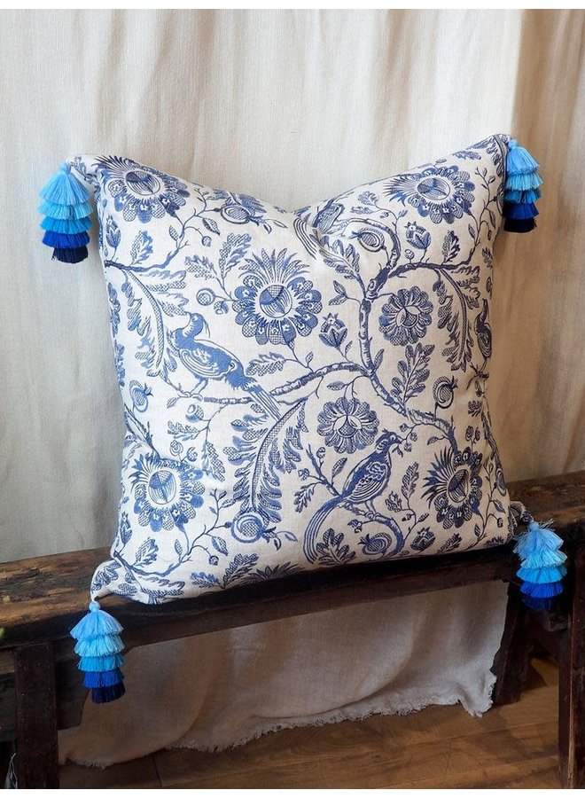 BLUE AND WHITE EMBROIDERED PILLOW 26X26