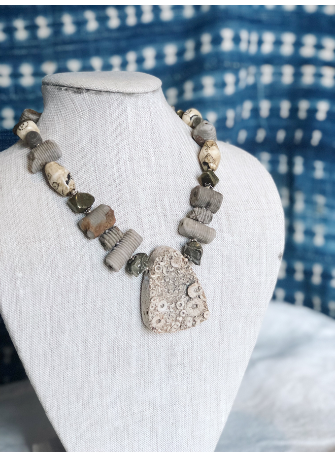 ANCIENT FOSSIL NECKLACE CHAIN MADE FROM ANCIENT CRINOID, BONE, AND PYRITE