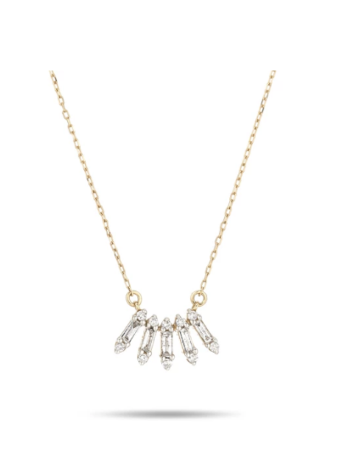 SMALL STACK BAGUETTE CURVE NECKLACE 14K YELLOW GOLD