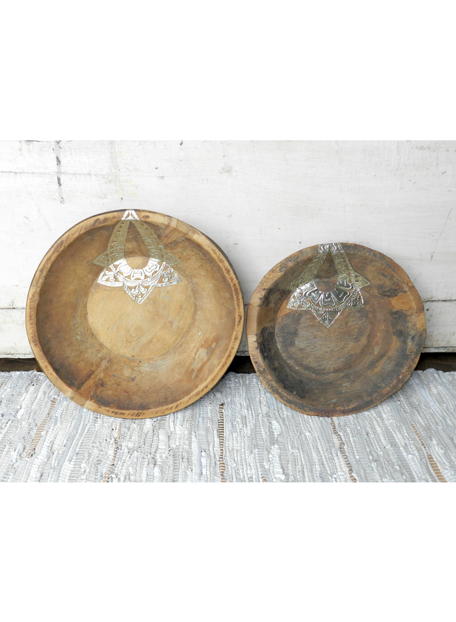 WOOD BOWL SET OF 2 SILVER