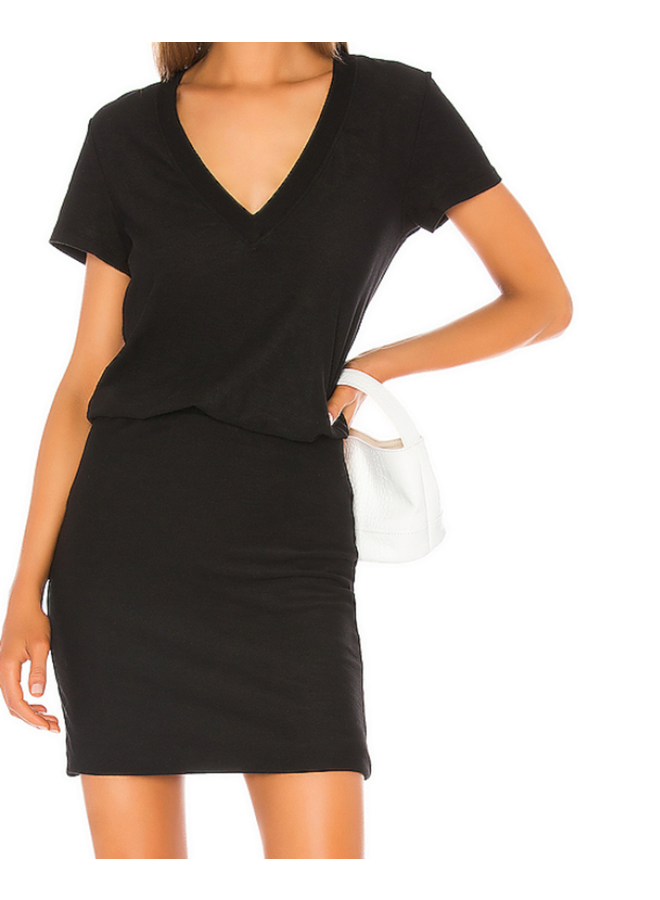 V NECK SHORT SLEEVE BLOUSON DRESS