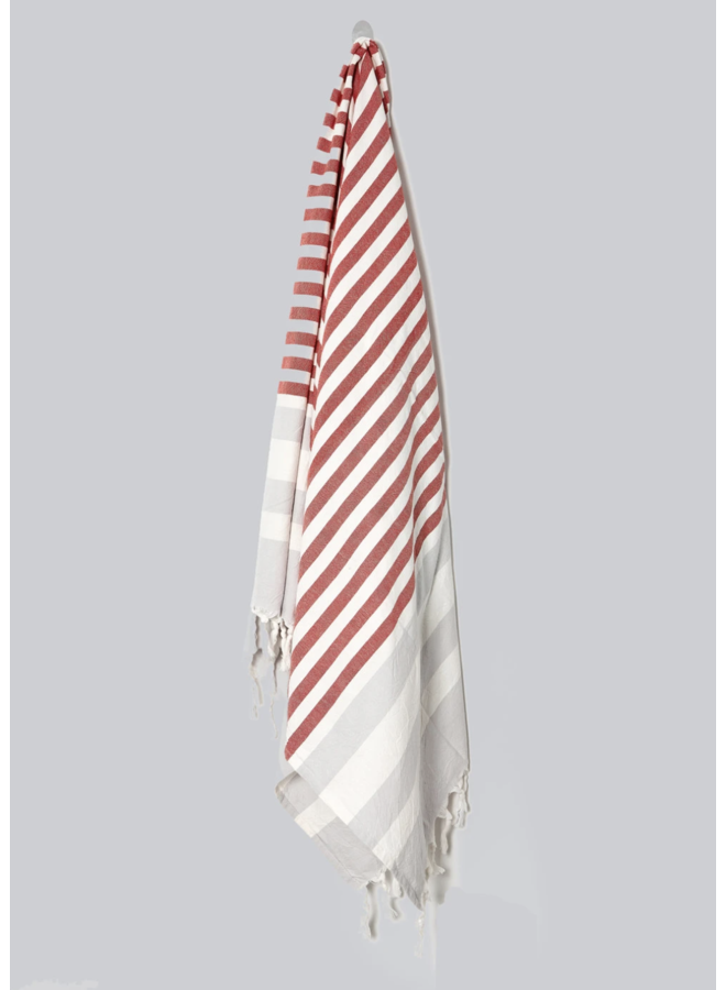 HAND WOVEN NAUTICAL TOWEL, TOMATO