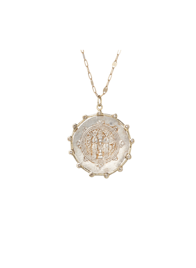 COLLIER 14K MEDALLION, ARGENT OXYDE