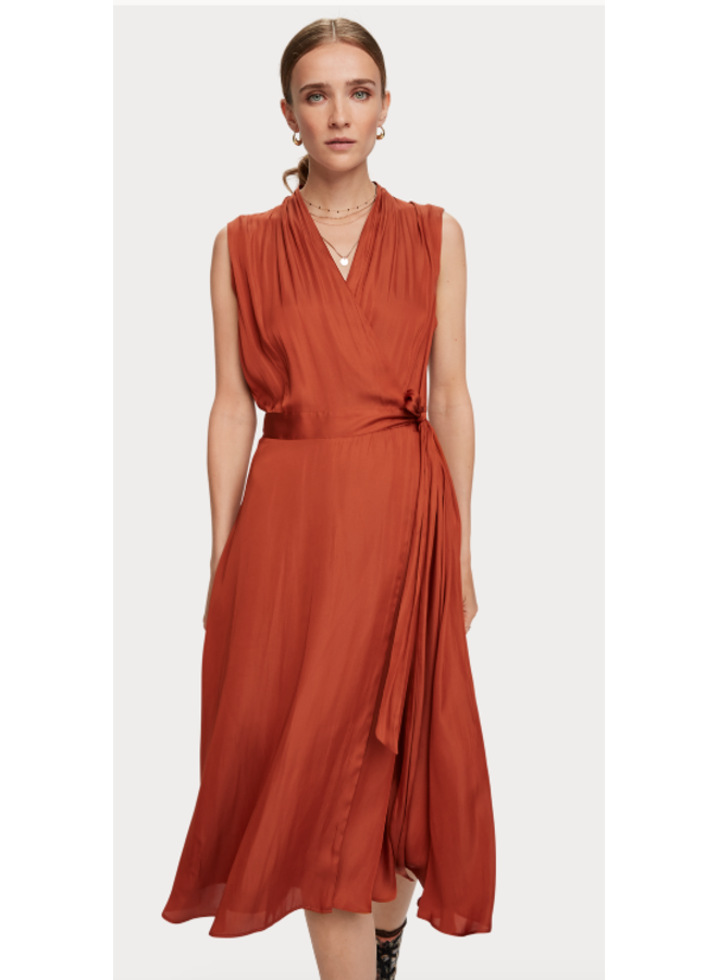 SLEEVELESS MIDI LENGTH WRAP DRESS WITH TIE
