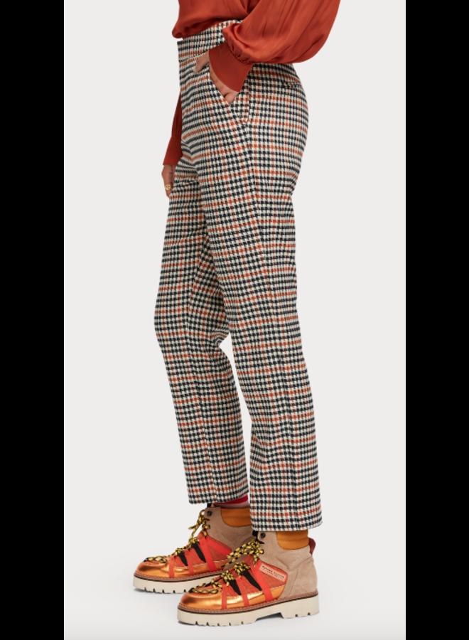 HIGH WAIST STRAIGHT ANKLE LEG CHECKED PANTS