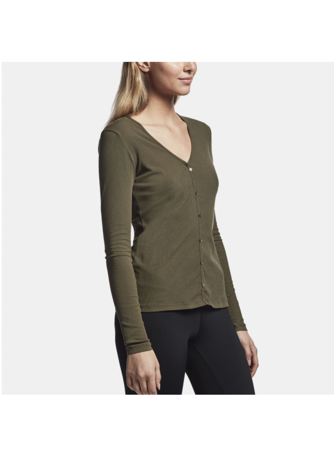 LONG SLEEVE RIBBED BUTTON DOWN