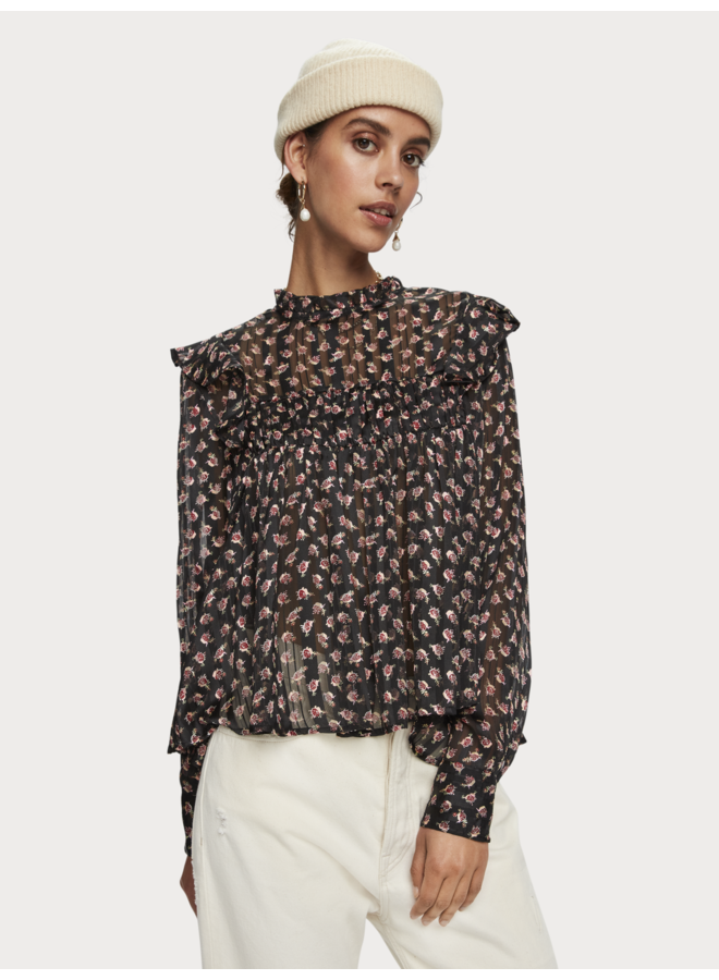 PRINTED FLORAL TOP IN DRAPEY QUALITY