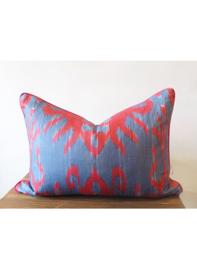 BLUE AND RED VINTAGE IKAT PILLOW