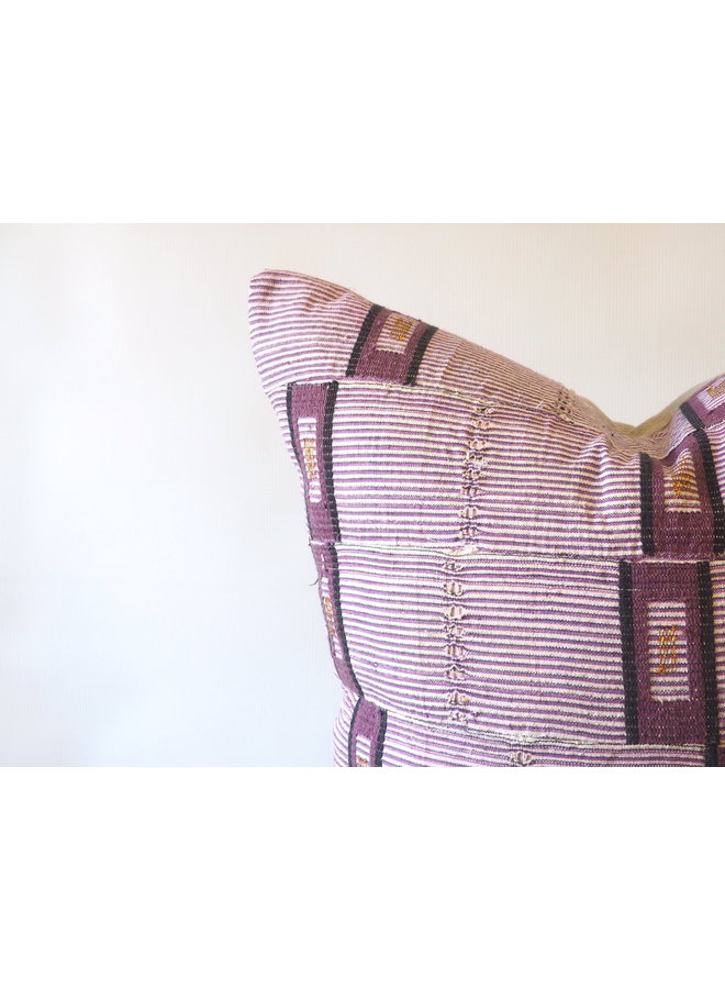 VINTAGE AFRICAN PURPLE STRIPED FABRIC PILLOW