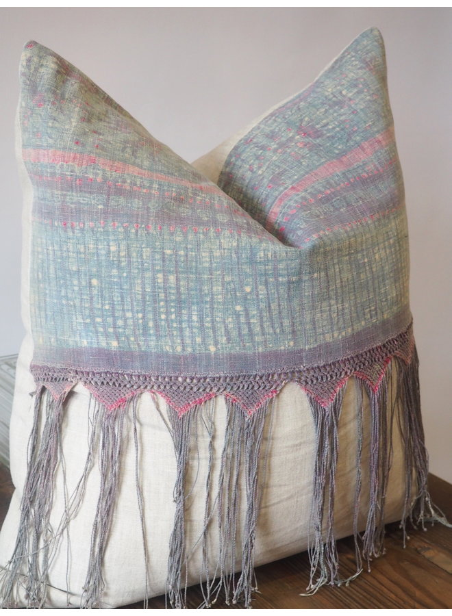 BUTTERFLY MUDCLOTH PILLOW WITH FRINGE