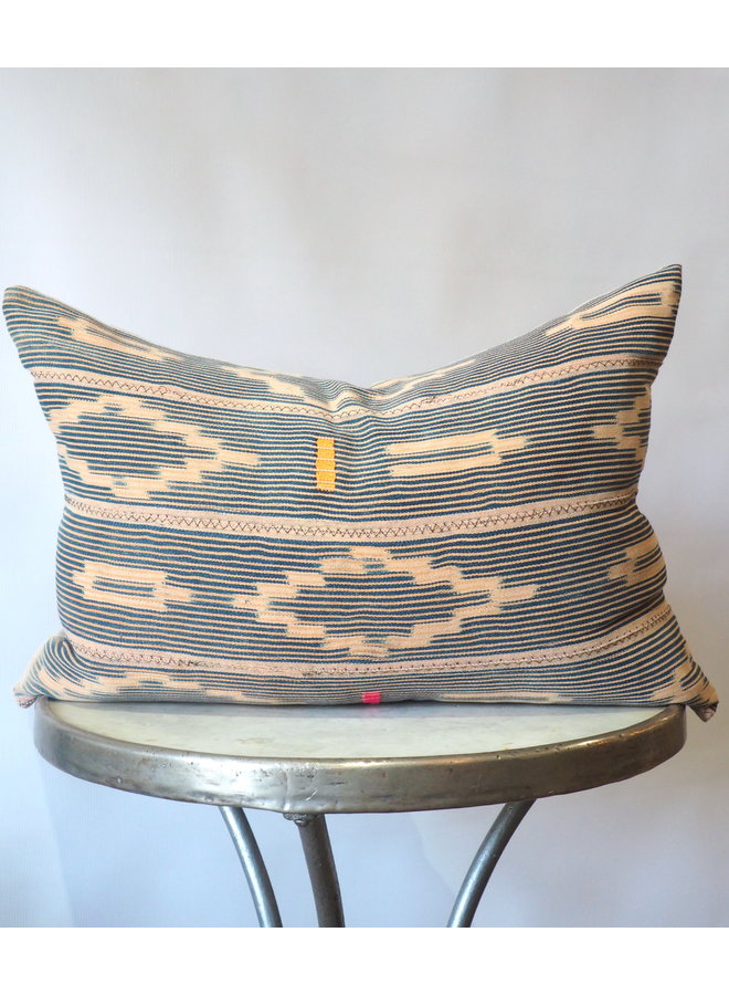 PEACH & NAVY IKAT PILLOW
