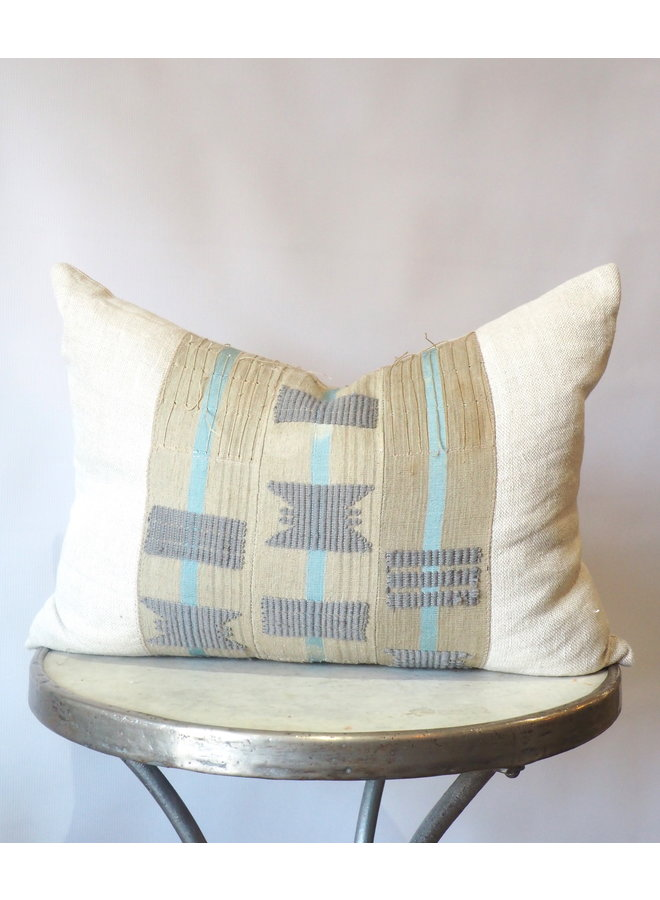 NEUTRAL BLUE AND GREY EMBROIDERED LINEN PILLOW