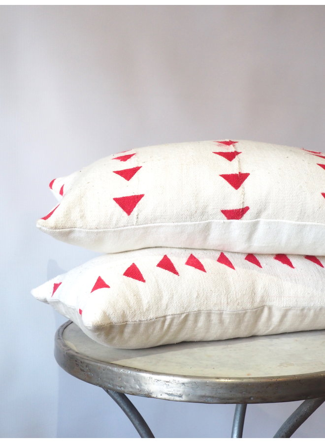 HAND BLOCK PRINTED RED ARROW PILLOW