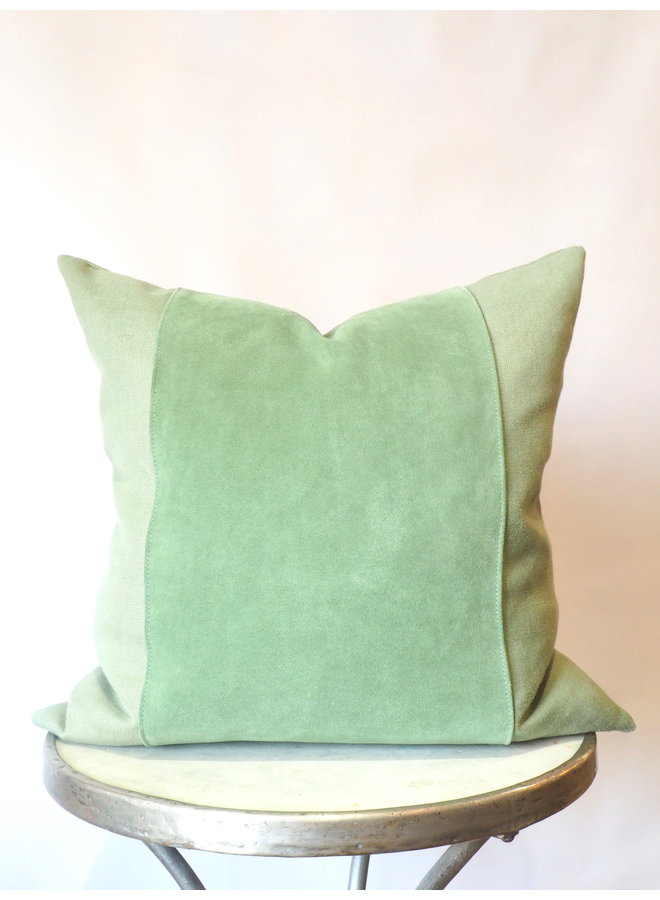 GREEN LINEN AND SUEDE PILLOW