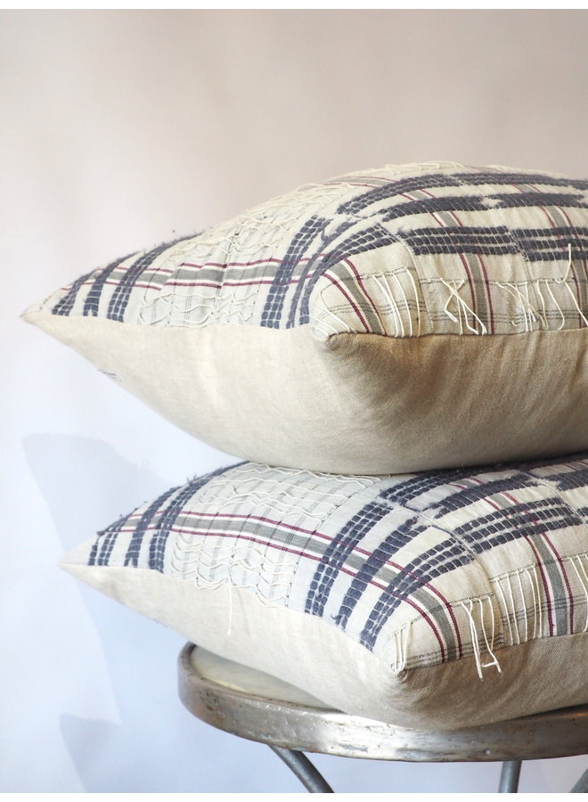 GREY BLUE STRIPED VINTAGE AFRICAN FABRIC PILLOW