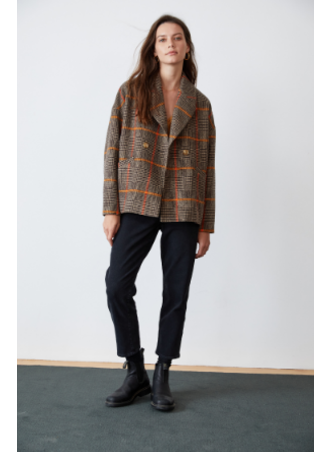 RHONA PLAID WOOL COAT