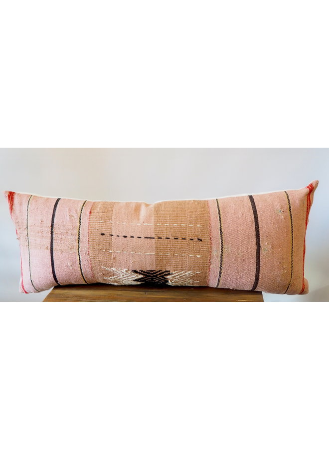 "35"" X 15"" HAND WOVEN STRIPED LUMBAR PILLOW"