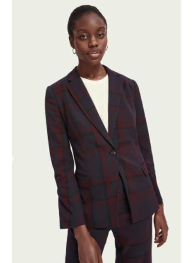 LONGER LENGTH CHECKED BLAZER