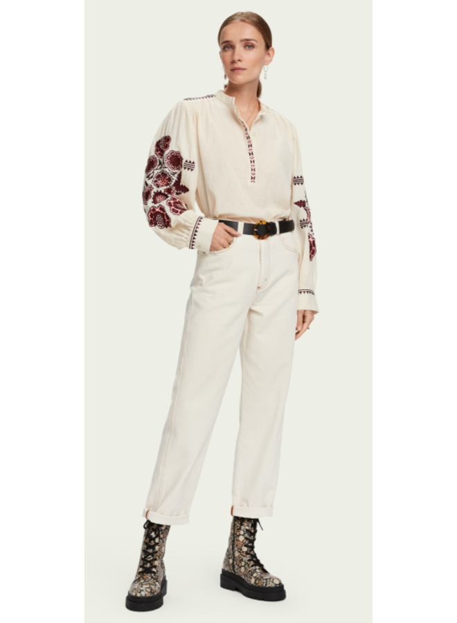 EMBROIDERED TOP WITH VOLUMINOUS SLEEVES