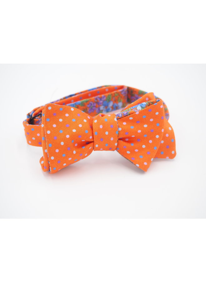 ORANGE/PERIWINKLE/FLORAL/DOTS BOW TIE