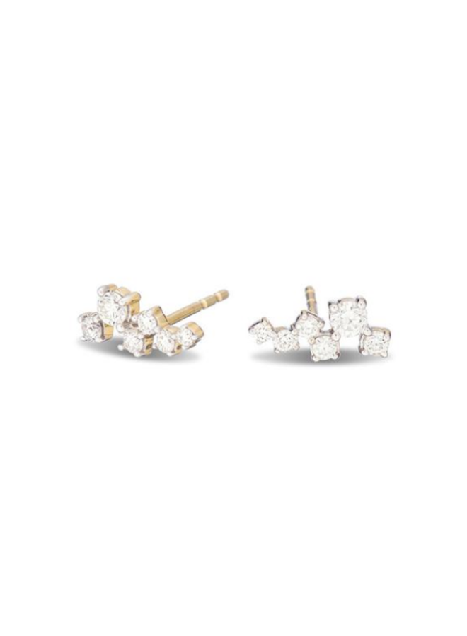 SCATTERED DIAMOND POSTS  14K YELLOW GOLD