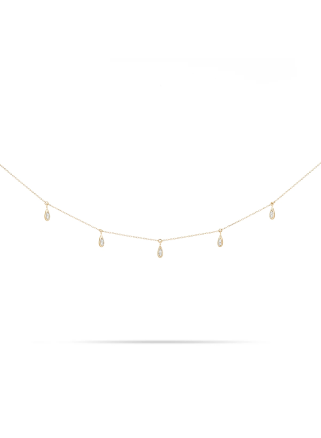 PAVE WATER DROP CHAIN NECKLACE 14K YELLOW GOLD