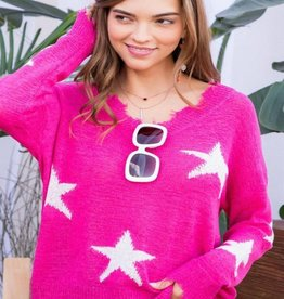 fray edge star sweater