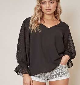 sheer sleeve blouse