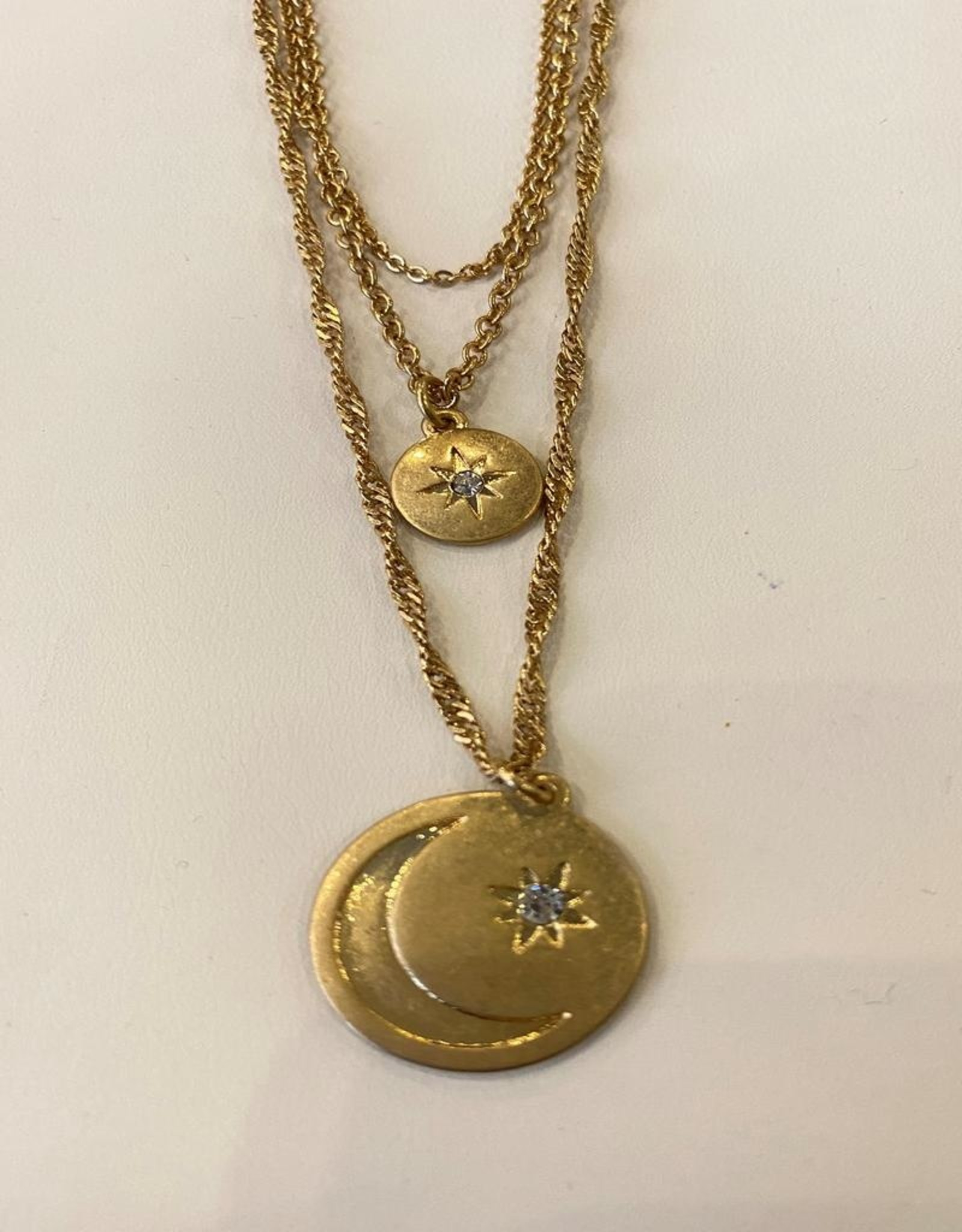 star moon triple necklace