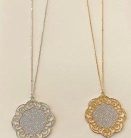 Rhinestone center scroll necklace