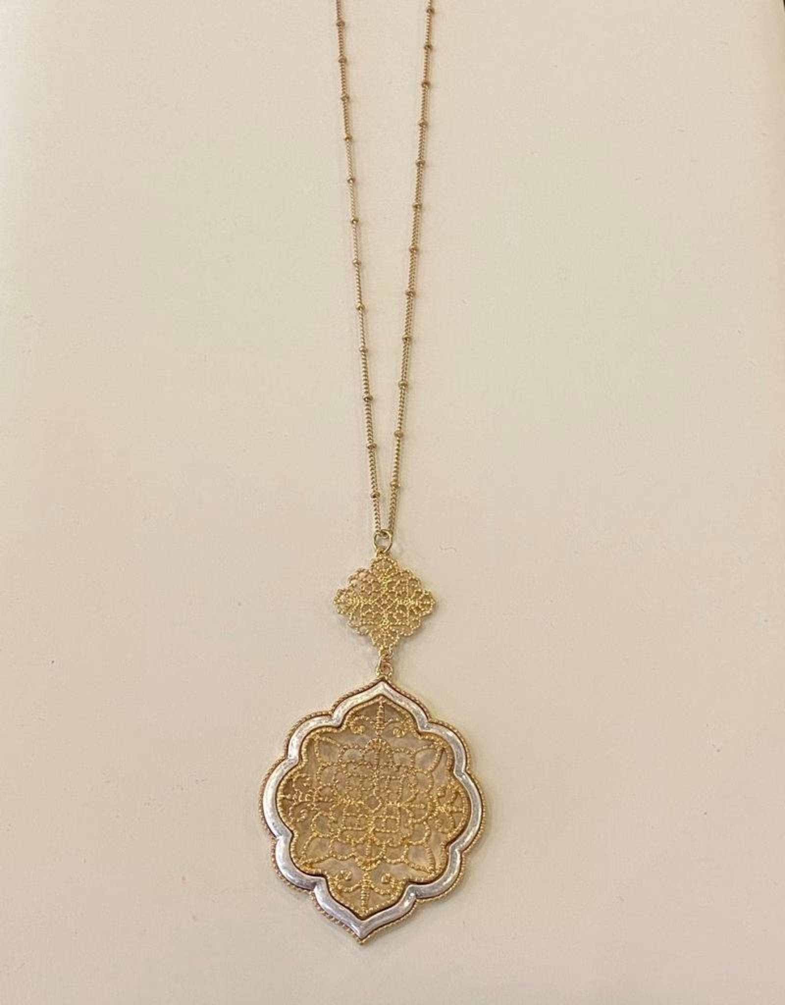 2 tone scroll necklace