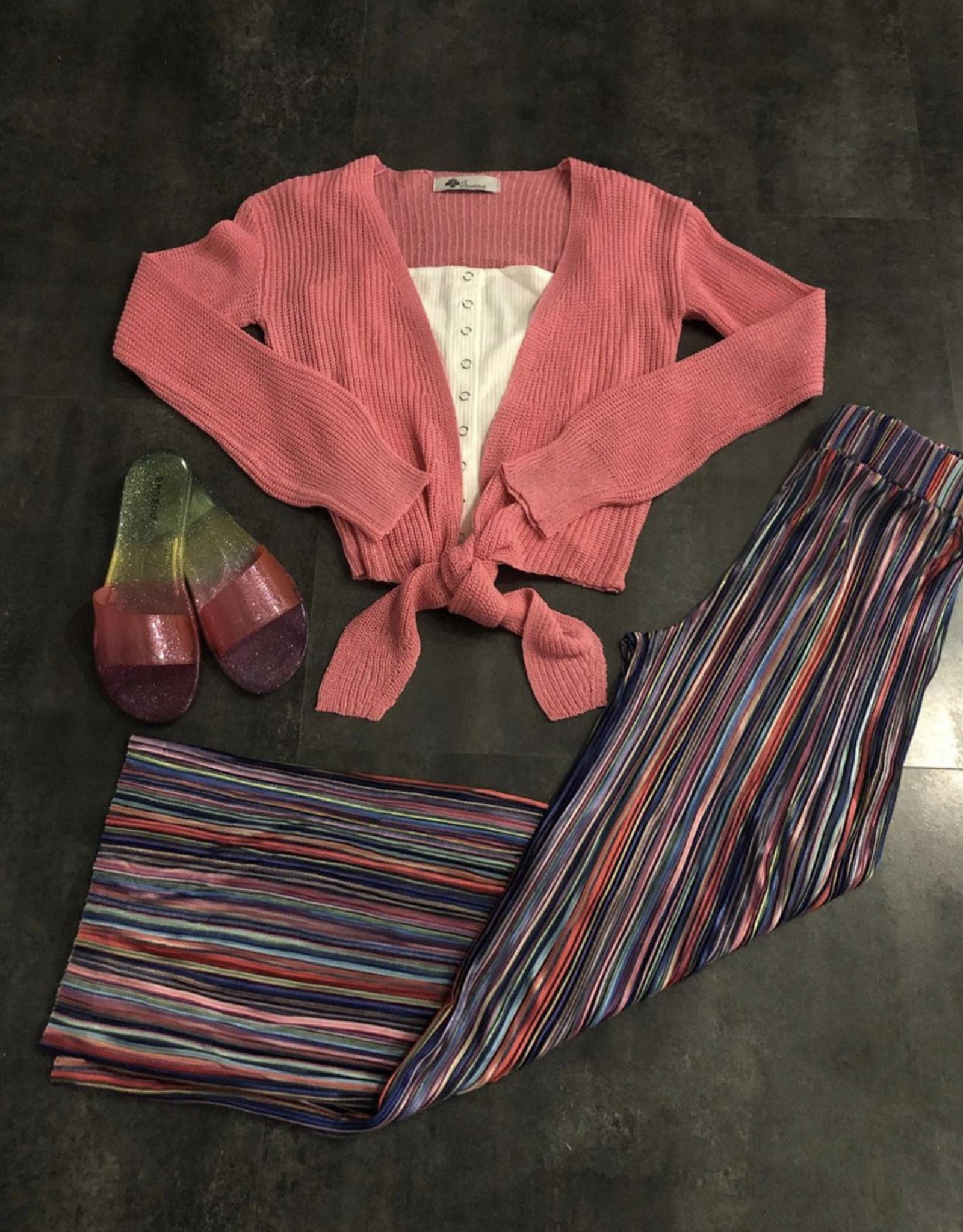 Stripe wideleg pants