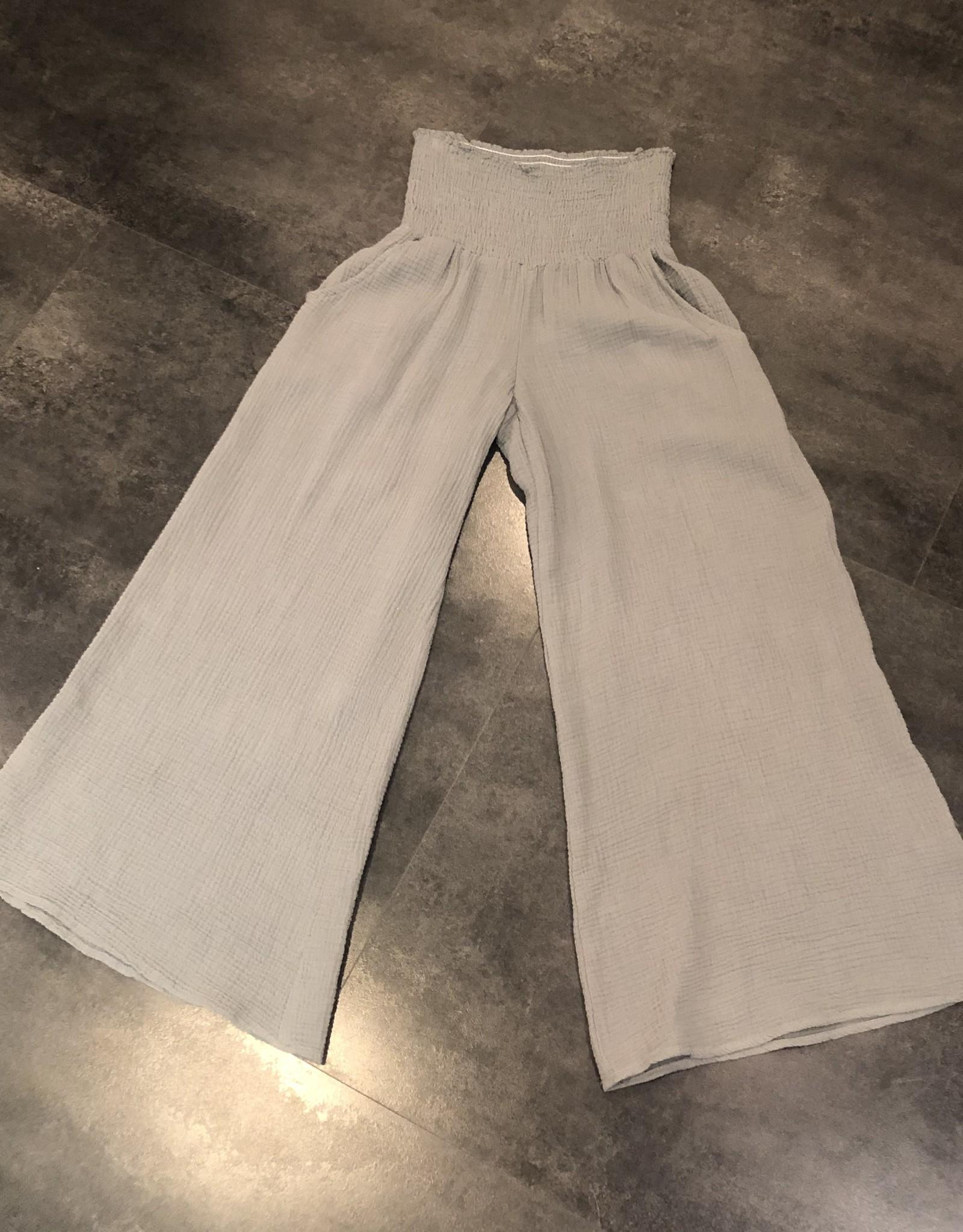 gauze smocked pants