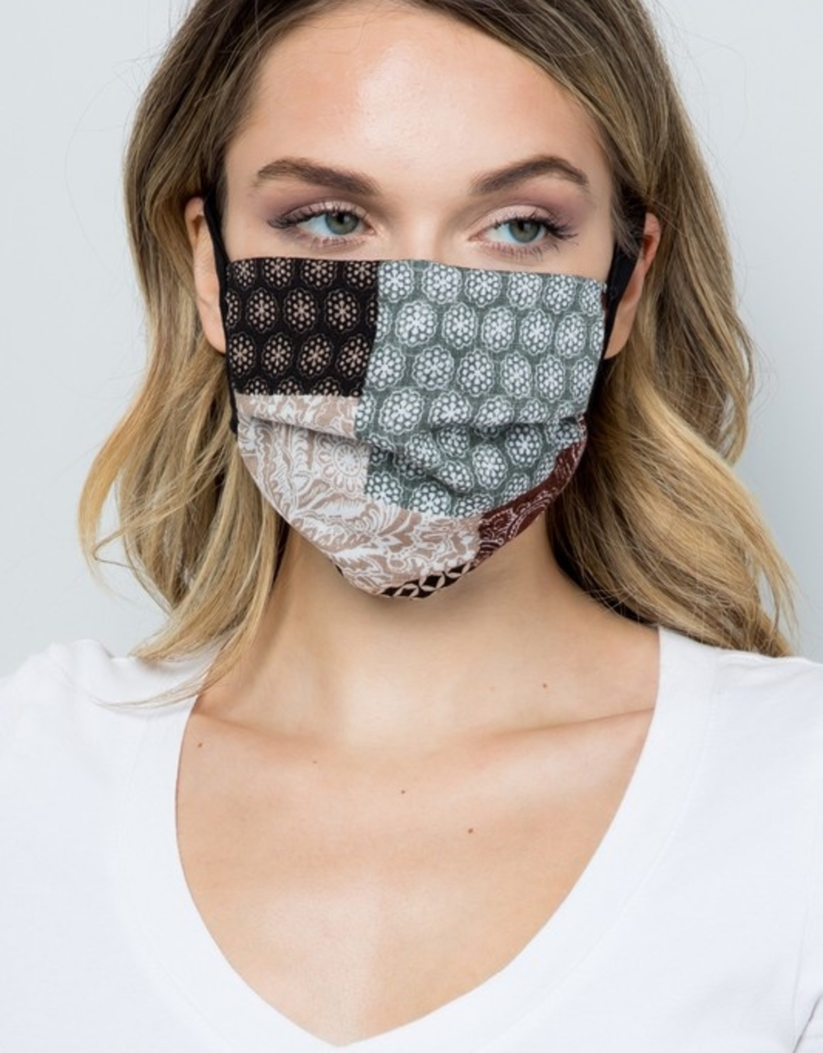 Patchwork taupe mask